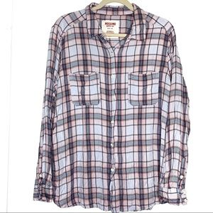Mossimo sz XL boyfriend fit plaid flannel shirt